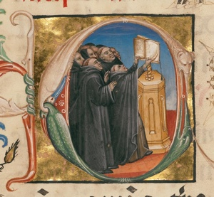 Initial C: Monks Singing; Unknown; Northeastern Italy, Italy; about 1420; Tempera colors, gold leaf, and ink on parchment; Leaf: 46.5 x 34.6 cm (18 5/16 x 13 5/8 in.); Ms. 24, leaf 3v